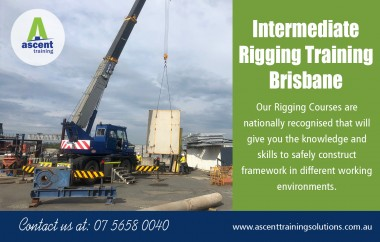 Intermediate rigging training in Brisbane necessary to perform work at a basic level at https://ascenttrainingsolutions.com.au/courses/rigging-intermediate-training/  Service us Intermediate rigging training Brisbane Intermediate rigging school Brisbane Intermediate rigger license Brisbane Intermediate rigging classes near Brisbane Intermediate rigging course Brisbane   Intermediate rigging school in Brisbane training course defines the results needed to set up, modify and take down rigging at the standard level, consisting of rigging work connected with the operation or use modular or pre-fabricated rigging, cantilevered materials lifts with a maximum workload of 500kg, ropes and gin wheels, safety nets and fixed lines, and brace rigging (storage tank and formwork) for licensing functions.   Contact us Address: 25 Shannon Pl ,  Virginia, Queensland, Australia 4014 Phone:  +61  0404 765 828,(07) 5658 0040, Email: enquiries@ascent.edu.au  Find us https://goo.gl/maps/GHi3TnzEZUp  Social http://www.alternion.com/users/ascenttraining https://followus.com/ascenttraining https://www.diigo.com/user/riggingtraining https://ascenttraining.netboard.me/ http://dogmancoursegoldcoast.strikingly.com/