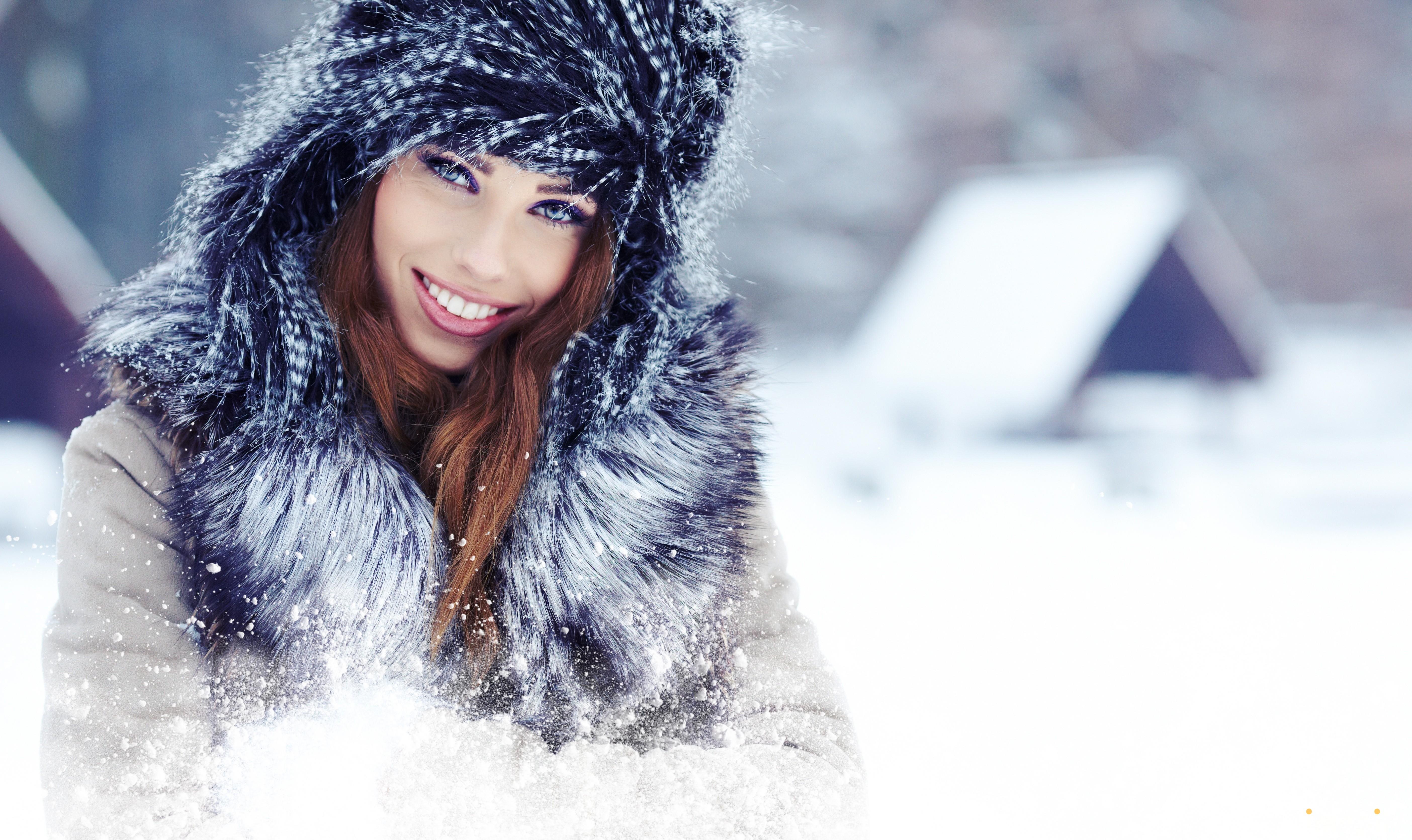 девушка брюнетка зима снег winter snow  № 2816744 бесплатно