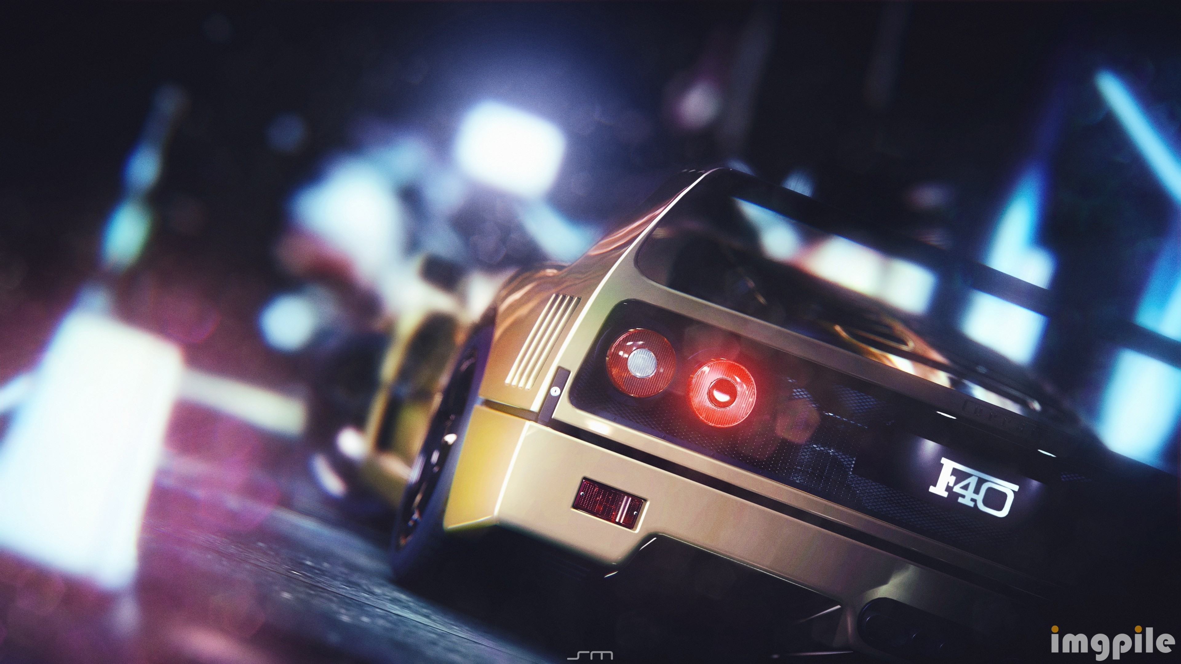 Night Cars Ferrari F40 Races 3840x2160 Wallpaper Wallpaper Hd