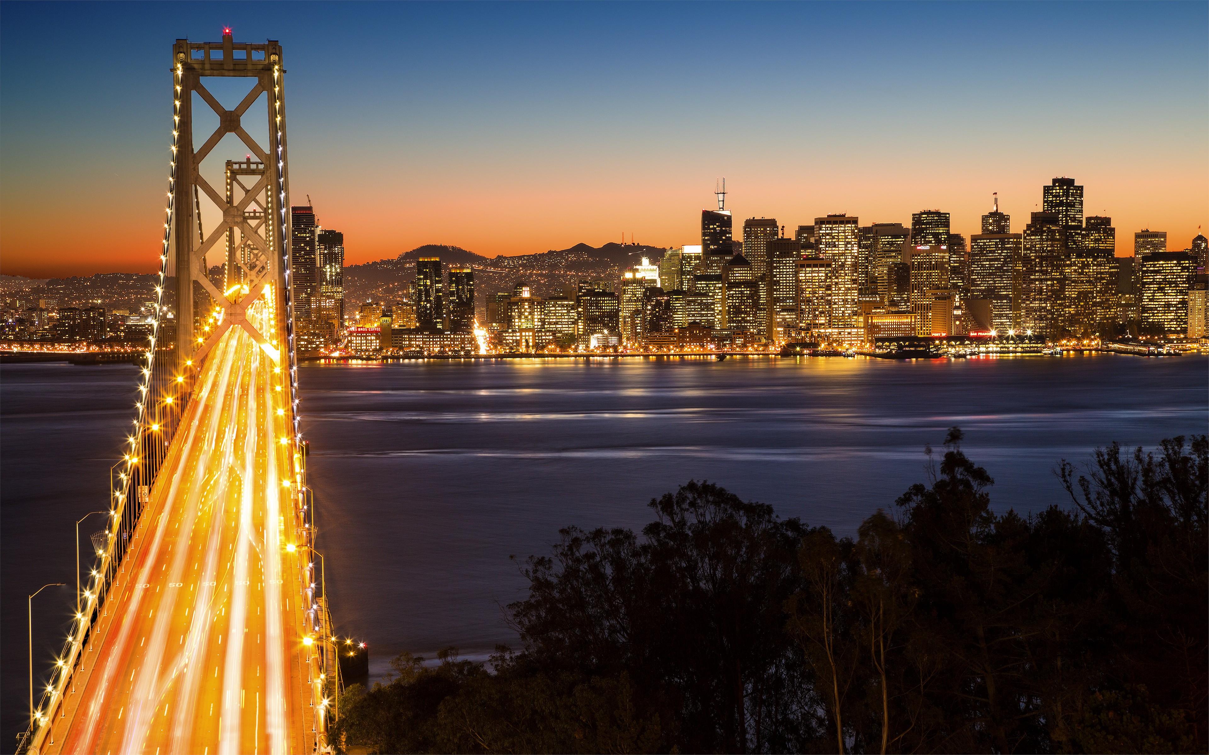 мост огни город залив бесплатно