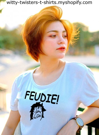 People that like food are called foodies, but people that like to argue are called, Feudies! If you're a feudie, then you need to wear this funny feud fashion wear and let everyone else know that a feud is a brewin' in you. This funny t-shirt also makes a great gift for a husband, wife, or friend.  Buy the Feudie! funny fashion t-shirt here:  https://witty-twisters-t-shirts.myshopify.com/search?q=Feudie
