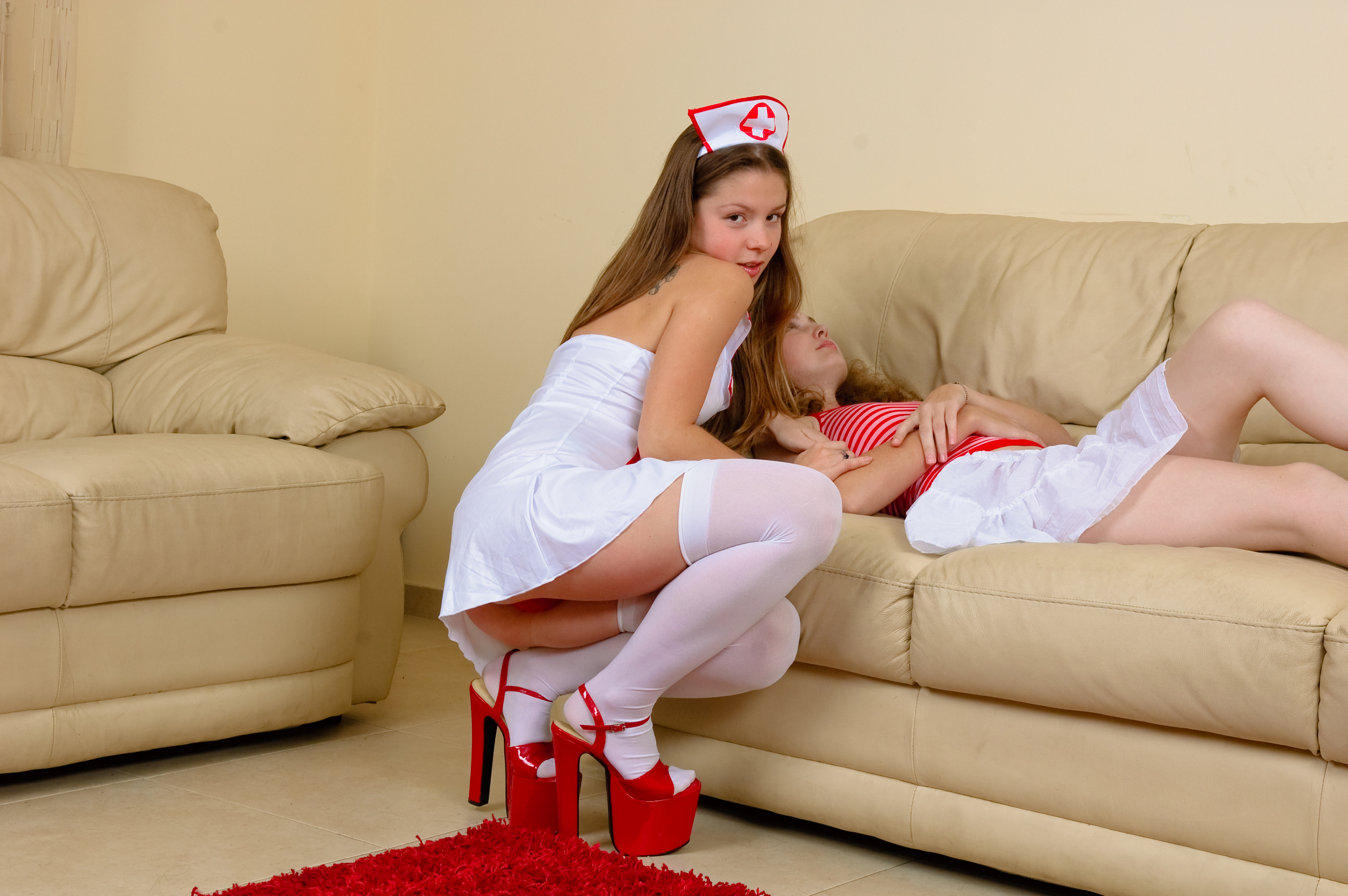 Emily 18 playing nurse with her patient - ImgPile
