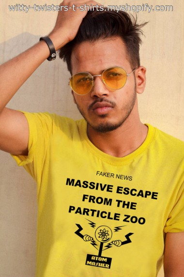 With all the fake news stories out there it can get quite difficult what to believe. With this funny scientific t-shirt though, it absolutely has to be fake. There can be a massive escape from an animal zoo, but if you know about the particle zoo, you also know that it's also based on the masses of the particles as well, so you couldn't have a massive escape from the particle zoo without pretty well destroying everything.   Buy this funny scienterrific t-shirt if you're a scientist, teacher, astronomer, into physics, or just a fan of quantum mechanics.   Get this funny physics t-shirt here:  https://witty-twisters-t-shirts.myshopify.com/search?q=Massive+Escape+From+The+Particle+Zoo