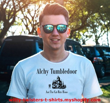 If you a Harry Potter fan here's a parody of Albus Dumbledore where he's a drunken alcoholic. He does kinda look the part after all. On this funny t-shirt his name is Alchy Tumbledoor and that's exactly what he does after the cab ride home. He tumbles through the door of Hogwarts. If you're a drinker that's a thinker and a bit of a stinker (not literally) then get this funny drinkers t-shirt today.  Order this funny Harry Potter parody t-shirt here:  https://witty-twisters-t-shirts.myshopify.com/search?q=Alchy+Tumbledoor
