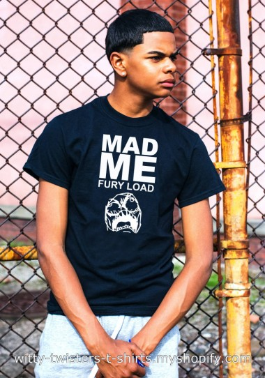 Mad Max: Fury Road is a 2015 post-apocalyptic action film. This t-shirt however, is about you, if you tend to get angry every so often, or not. This movie parody shirt says Mad Me instead of Mad Max and that you have a fury load. If you're a movie buff or just like to get rough, then purchase this t-shirt and start down the fury road to funny.  This funny movie t-shirt is guaranteed to get you're juices flowing and you're anger going. Where you go from there is up to you.  Buy the Mad Me - Fury Load t-shirt here:  https://witty-twisters-t-shirts.myshopify.com/search?q=Mad+Me+-+Fury+Load