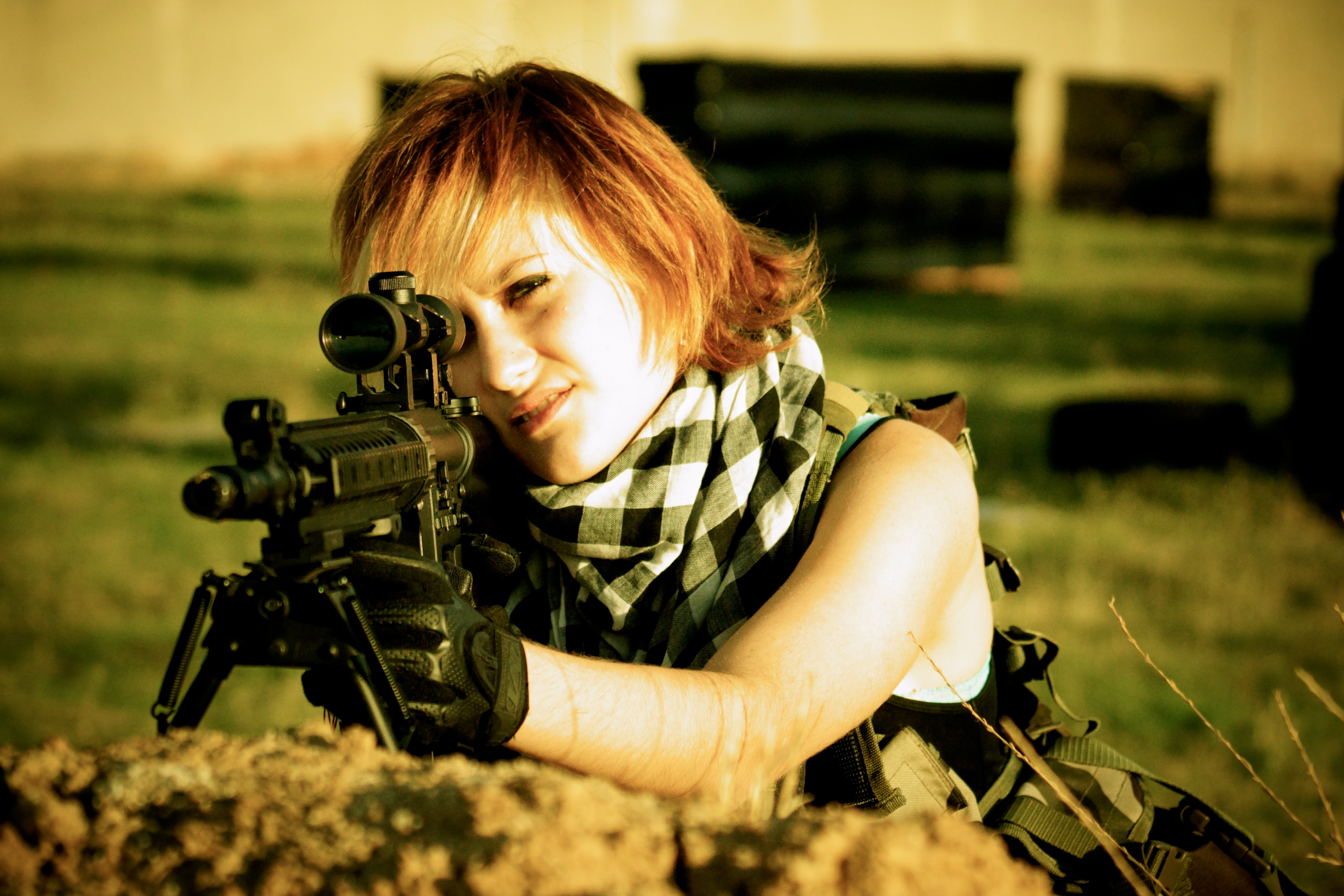 Tight pictures of girls shooting guns