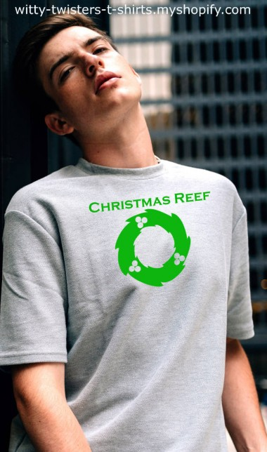 Here's a Christmas t-shirt for stoners that want to be a little bit subtle about it. While everyone else is wearing Christmas wreath sweaters, you could be wearing a Christmas Reef t-shirt instead. Reef being a short form for reefer or aka weed, marijuana, pot, etc.   Buy the Christmas Reef funny stoners t-shirt here:  https://witty-twisters-t-shirts.myshopify.com/search?q=Christmas+Reef