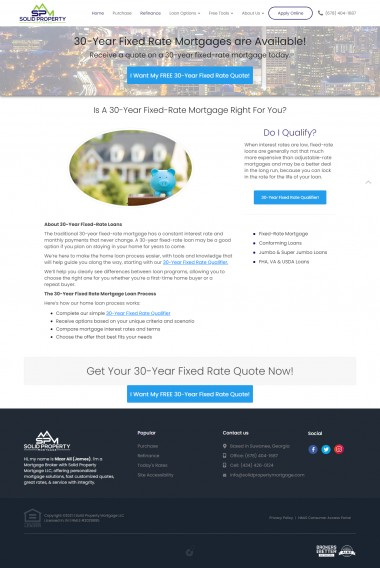 30 Year Fixed Mortgage Loan Suwannee. Get great rates on a 30-year mortgage today. This loan may be a good option if you plan on staying in your home for years to come.   https://solidpropertymortgage.com/30-year-fixed-rate-mortgage/   Whether you're buying, selling, refinancing, or building your dream home, you have a lot riding on your loan officer. Since market conditions and mortgage programs change frequently, you need to make sure you're dealing with a top professional who is able to give you quick and accurate financial advice. As an experienced loan officer I have the knowledge and expertise you need to explore the many financing options available. Ensuring that you make the right choice for you and your family is my ultimate goal, and I am committed to providing my customers with mortgage services that exceed their expectations. I hope you'll browse my website, check out the different loan programs I have available, use my decision-making tools and calculators, and use our secure online application to get started. After you've applied, I'll call you to discuss the details of your loan, or you may choose to set up an appointment with me using my online form. As always, you may contact me anytime by phone, fax or email for personalized service and expert advice. I look forward to working with you.  #Applyforamortgageloan #MortgageBrokerGeorgia #PropertyMortgageLLCAtlanta #personalizedmortgagesolutionsUSA #Onlinemortgagesolutions #30YearFixedMortgageLoan #15YearFixedMortgageLoan #FHALoansinGeorgia #AdjustableRateMortgageGeorgia #SuwaneeMortgageBroker #ReverseMortgageLoaninAtlanta #Solidpropertymortgage #RefinanceAnalysisonline #OnlinehomePaymentCalculator #SearchHomesForSaleinUSA #OnlineHomeValueEstimate