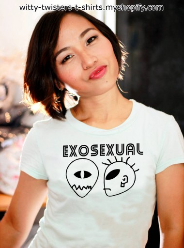 Humans are sexually active beings and there are several different categories of sexual behavior. If you believe that there are aliens out there somewhere, then you must also realize that there will be humans that will have sex with an alien. Now you can let everyone know that you're volunteering for the job of having an alien relationship with a t-shirt that states you're an exosexual in nature. If you identify with the unidentified, then wear this alien lovers t-shirt to the next Bi-Mon-Sci-Fi-Con.   Buy the Exosexual funny alien t-shirt here:  https://witty-twisters-t-shirts.myshopify.com/search?q=Exosexual