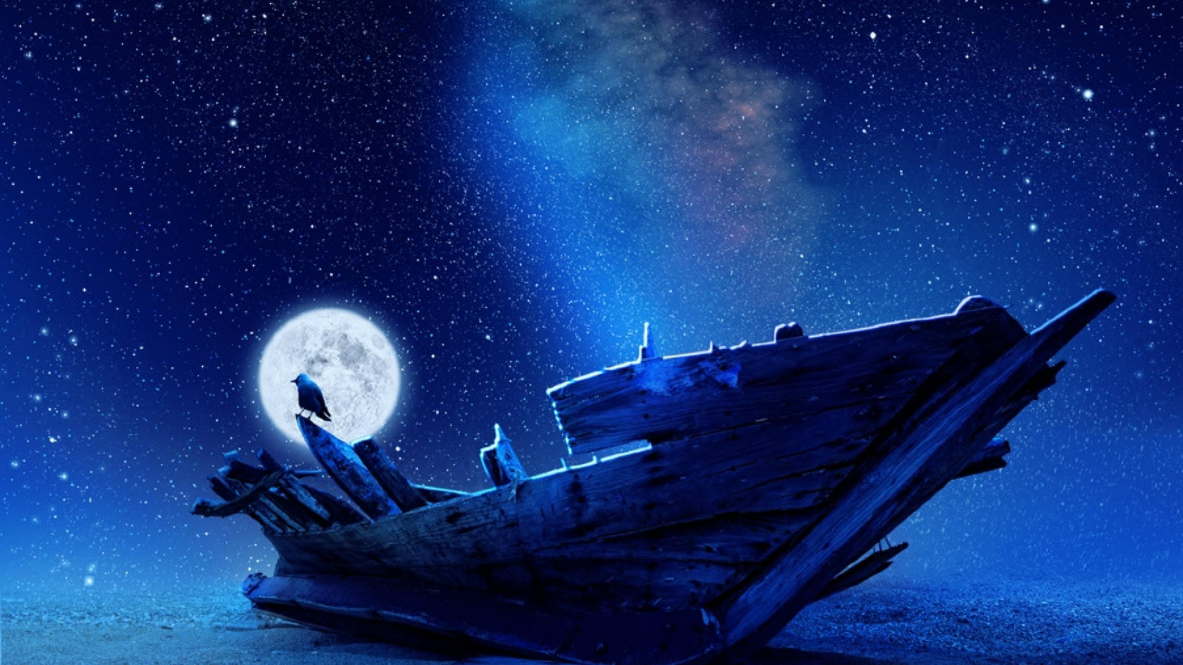 Lovely Moonlight Shining At Night Old Ship Sea Moon Night Wallpaper Uhd 4k Wallpaper Imgpile