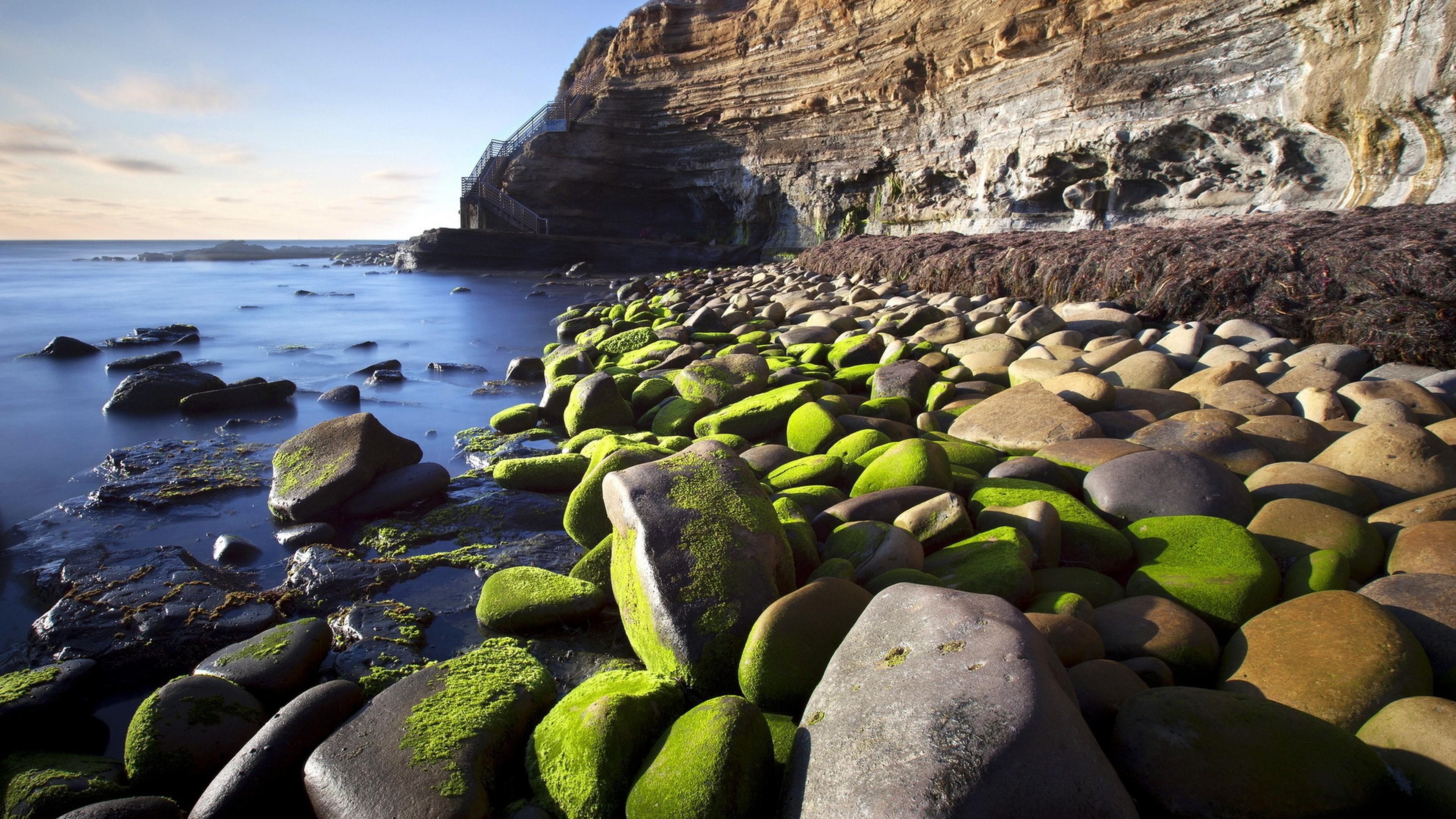 Камни со мхом на берегу без регистрации