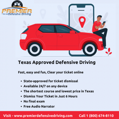 Premier Defensive Driving is the most beneficial program to dismiss your traffic ticket and avoid insurance premium increases. Take TDLR (Texas Department of Licensing and Regulation) approved Course 100% online.  If you have any questions about our defensive driving course in Texas – get in touch today! Call - 800-674-8110 or Visit online - https://www.premierdefensivedriving.com/courses/texas