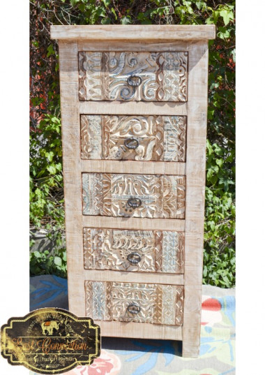 The Furniture is beautifully Hand Carved on all the drawers and has a washed shabby chic finish giving it a great character. Five good sized deep drawers gives it ample storage. This surely is a practical and beautiful piece of furniture.