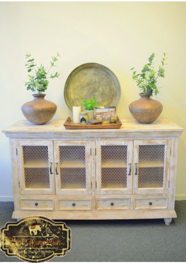 Beautiful Character Solid timber built Indian Furniture in Distressed Country Look.  This Furniture is beautifully crafted with distressed shabby chic French country look giving it a great character. This item features unique wire mesh design in the doors and 4 drawers making it a standout piece of furniture. Very practical unit with plenty of storage and would work perfectly as a sideboard, buffet, or as a storage unit in any room. Its unique style would suit any kind of interiors from French Provincial to Country Style or Boho style interiors.