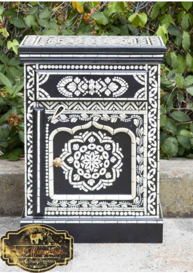 Beautiful Character Solid Sustainable timber built Indian Furniture.  The furniture is Hand painted with traditional Indian Bone Inlay Patterns, which gives it a very distinct character. Would add colour to any interior and would look stunning as a feature piece in any room.