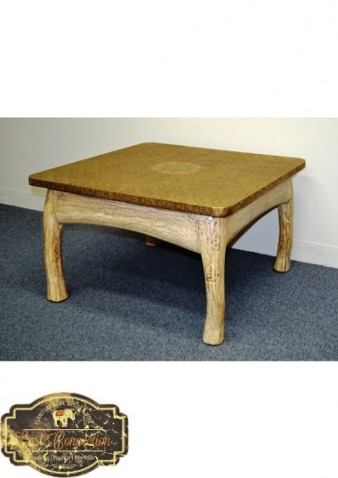 This Hand Pressed Brass Metal fitted Coffee table is has unique shabby chic country style finish on the legs. This piece is hand made in India, and would work as an eye atching coffee table or even a generous side table.