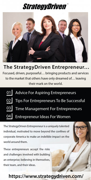 Looking someone to provide entrepreneur ideas for women. So, look no further than StrategyDriven. We are aligned to and accountable for a strong vision, inspiring values and quantifiable mission goals. For more details please visit: https://www.strategydriven.com/