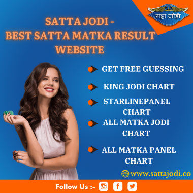 Welcome to the best Satta Matka result website where you will get Kalyan Satta result, राजधानी सत्ता रिजल्ट लाइव,सट्टा मटका बालाजी डे रिजल्ट,मॉर्निंग सिंडिकेट फास्ट रिजल्ट, and much more. Also, enjoy free guessing tips and win online Matka games. Satta Jodi also offers correct Panel charts, Game Charts, King Charts, Jodi charts of all Bazar . To know more, visit our websiet Satta Jodi.