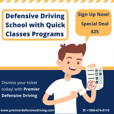 Premier Defensive Driving is the most beneficial program to dismiss your traffic ticket and avoid insurance premium increases. Take TDLR (Texas Department of Licensing and Regulation) approved Course 100% online.  If you have any questions about our online defensive driving course in Texas – get in touch today! 800-674-8110.