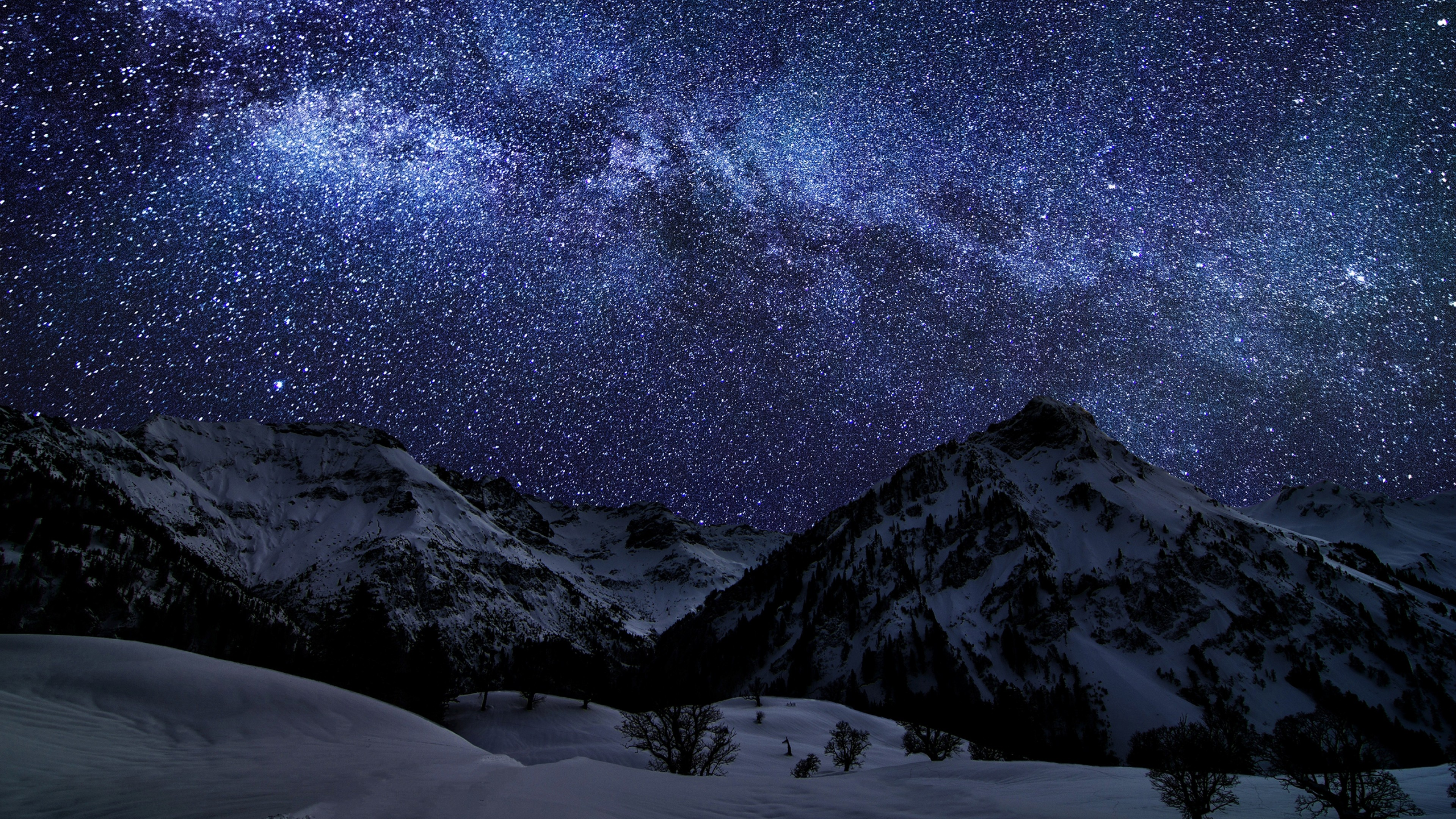 Ultra Hd Winter Sky Stars Nature Night 86857 3840x2160