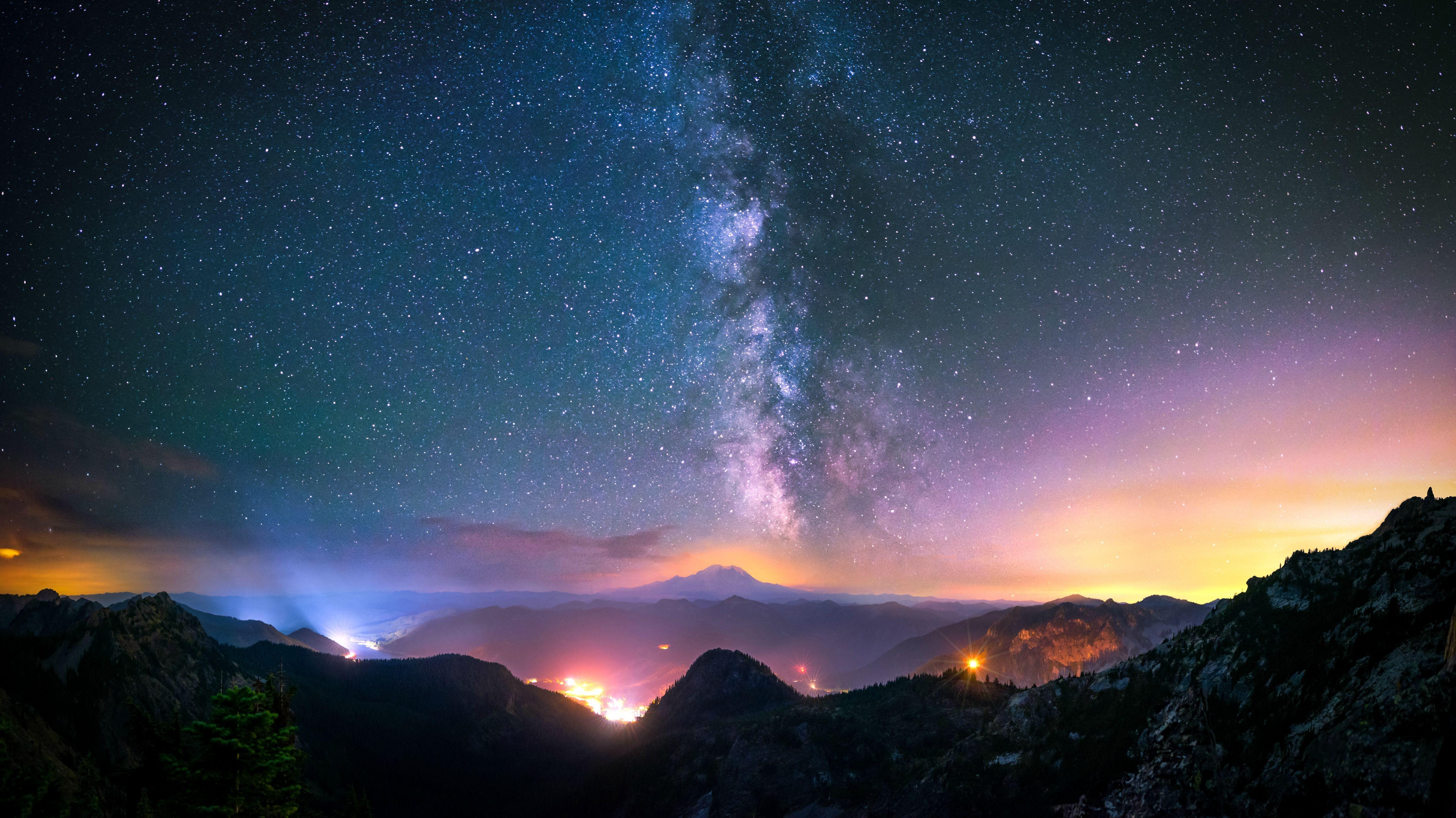 природа космос горы скалы небо звезды ночь  № 851792 бесплатно