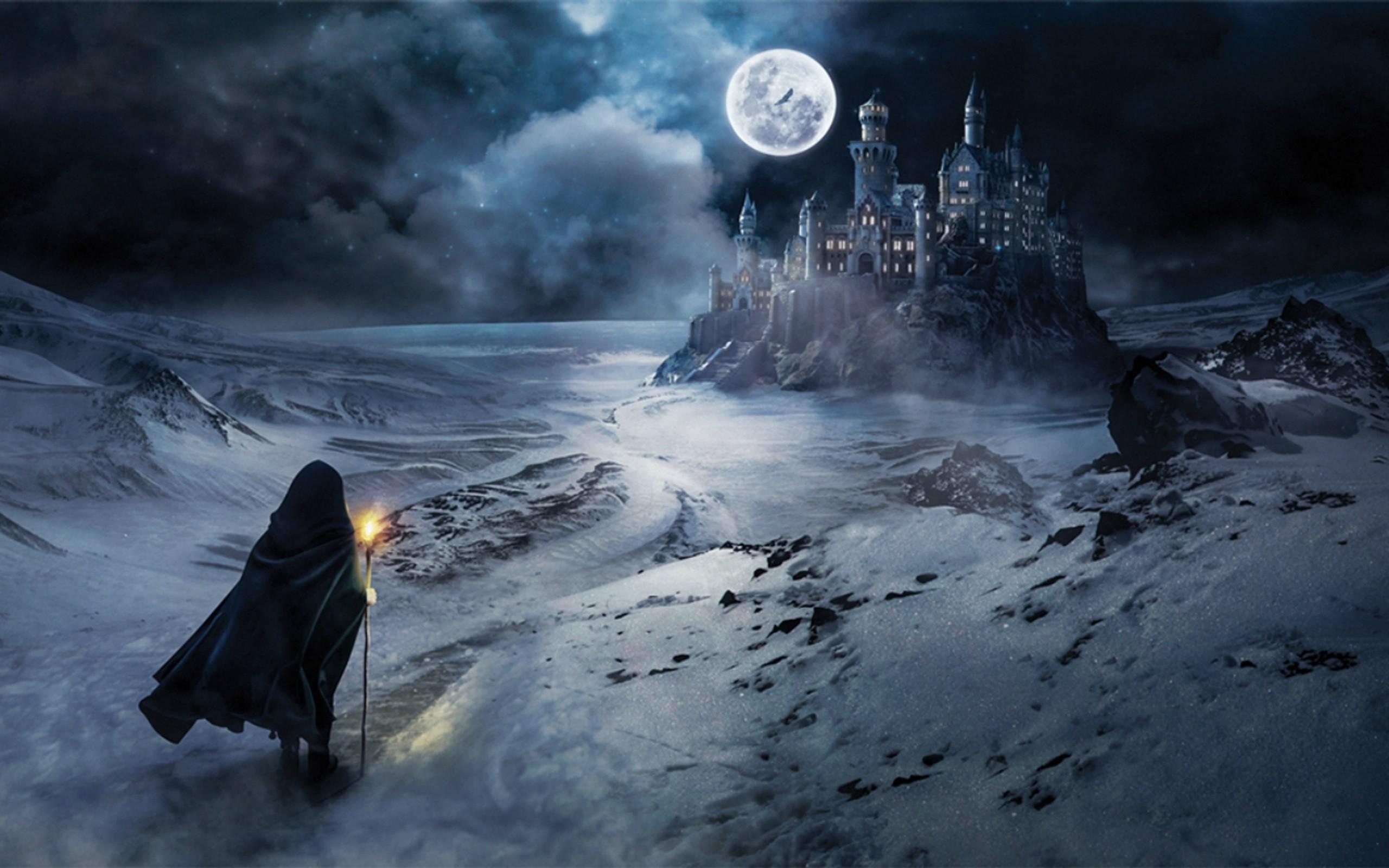 мотоцикл картинки фэнтези ночь луна замок специальной