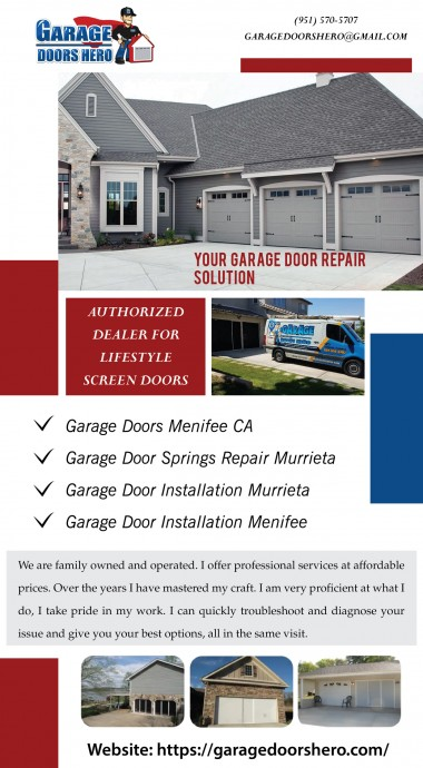 Oh, you are looking for countable service for garage door springs repair in Murrieta. Then, give Garage Doors Hero a phone call for same day service. We strive to meet your project's needs as well as prevent any potential problems from occurring in the future. To know more about us please visit at: https://garagedoorshero.com/