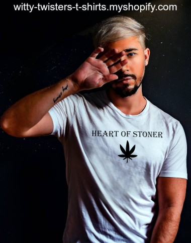 Some people have a heart of stone, but the heart of a stoner is weed. If you smoke, toke or woke to marijuana, then your heart is in the right place; stonerville. Celebrate 420 everyday and put your money where your mouth is, then smoke it while you're wearing this funny stoner t-shirt.  Buy the Heart Of Stoner pot smokers t-shirt here:  https://witty-twisters-t-shirts.myshopify.com/search?q=Heart+Of+Stoner